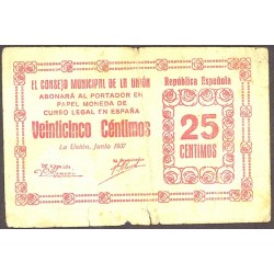 España 25 Cts. 1937. UNION.-LA-(MU). MBC-. (Roturitas.margen inf.). (Consejo-Serie A)). MUY RARO/A. LGC. 1495 B