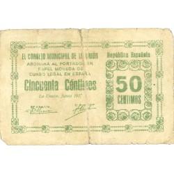 España 50 Cts. 1937. UNION.-LA-(MU). RC-/MC. (Rotura, reparado). (Consejo-Serie A). RARO/A. LGC. 1495 C