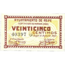 España 25 Cts. 1937. ASPE-(A). SC. (Ayuntamiento). RARO/A. y mas asi. LGC. 201 A - TUR. 222