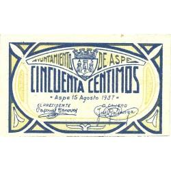España 50 Cts. 1937. ASPE-(A). EBC+/SC-. (Nuevo con inapr.marquita de doblez). (Ayuntamiento). ESCASO/A. y mas asi. LGC. 201 B