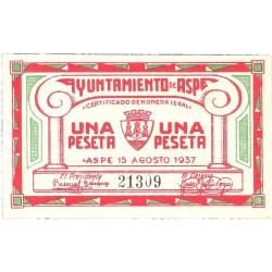 España 1 Ptas. 1937. ASPE-(A). SC. (Ayuntamiento). RARO/A. y mas asi. LGC. 201 C
