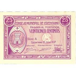 España 25 Cts. 1937. COCENTAINA-(A). SC. (Consejo-Serie A). LGC. 533 A