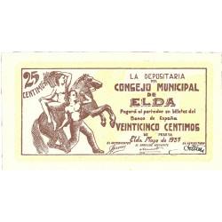 España 25 Cts. 1937. ELDA-(A). SC. (Consejo-Serie A). MUY ESCASO/A. LGC. 601 C - TUR. 723 a