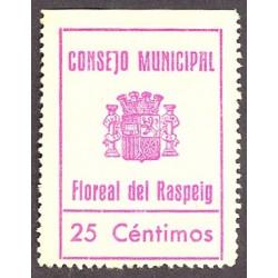 España 25 Cts. 1937. FLOREAL DEL RASPEIG-(A). SC-. (Estampilla que se usó como moneda de cambio local).(Turró solo cita el 5 C