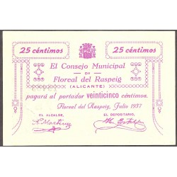 España 25 Cts. 1937. FLOREAL DEL RASPEIG-(A). SC. (Consejo-Serie C). LGC. 652 A - TUR. 761