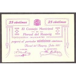España 25 Cts. 1937. FLOREAL DEL RASPEIG-(A). SC-/SC. (Nuevo con insig.roturita en margen sup.). (Consejo-Serie C). LGC. 652 A