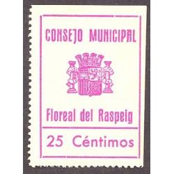 España 25 Cts. 1937. FLOREAL DEL RASPEIG-(A). SC. (Estampilla que se usó como moneda de cambio local).(Turró solo cita el 5 Ct