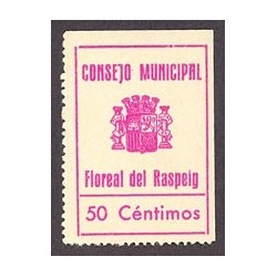España 50 Cts. 1937. FLOREAL DEL RASPEIG-(A). SC. (Estampilla/Viñeta que se usó como moneda de cambio local).(Turró solo cita