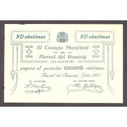 España 50 Cts. 1937. FLOREAL DEL RASPEIG-(A). SC. (Consejo-Serie B). LGC. 652 B - TUR. 760
