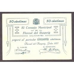 España 50 Cts. 1937. FLOREAL DEL RASPEIG-(A). SC-/SC. (Nuevo con muy lev.marquita). (Consejo-Serie B). LGC. 652 B - TUR. 760