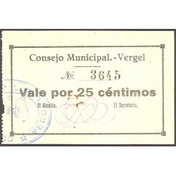 España 25 Cts. 1937. VERGEL-(A). SC. (Consejo). RARISIMO/A. y mas asi. LGC. 1547 A - TUR. 1461 b