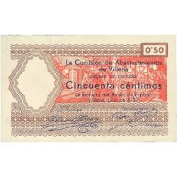 España 50 Cts. 1937. VILLENA-(A). SC. (Comision de Abastos-Serie C). LGC. 1634 A - TUR. 1528 d