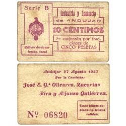 España 10 Cts. 1937. ANDUJAR-(J). EBC+. (Lev.uso). (Industria y comercio-Serie B). RARISIMO/A. LGC. 168 A