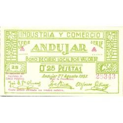 España 25 Cts. 1937. ANDUJAR-(J). SC. (Industria y comercio-Serie A). MUY RARO/A. LGC. 168 B