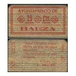 España 25 Cts. 1937. BAEZA-(J). EBC-. (Lev.suciedad de uso). (Ayuntamiento-Serie A). RARO/A. LGC. 217 B