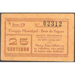 España 25 Cts. 1937. BEAS DEL SEGURA-(J). SC-/SC. (Consejo-Serie CB). MUY RARO/A. LGC. 243 A