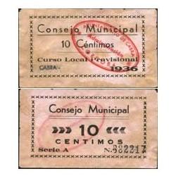 España 10 Cts. 1936. CABRA-(CO). EBC-. (Lev.manchitas). (Consejo-Serie A). LGC. 382 A