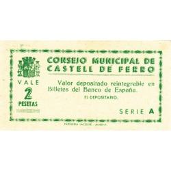 España 2 Ptas. 1937. CASTELL DE FERRO-(GR). SC. (Consejo-Serie A). MUY RARO/A. LGC. 474 D. No cita