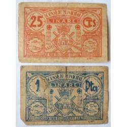 España 25 Cts. 1937. LINARES-(J). RC-. (Roturitas). (Lote de 2 Billetes:0,25 Cts.+ 1 Pta.(Consejo). LGC. 824 A y C