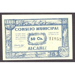 España 50 Cts. 1937. ALCAÑIZ-(Te)-(Franja Ponent). SC. (Consejo). LGC. 75 H - TURR. 22