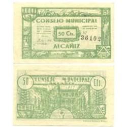 España 50 Cts. 1937. ALCAÑIZ-(Te)-(Franja Ponent). SC. (Numeracion segun estoc). (Consejo). LGC. 75 E - TURR. 24 a