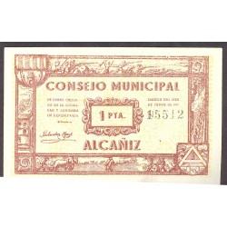 España 1 Ptas. 1937. ALCAÑIZ-(Te)-(Franja Ponent). SC. (Consejo). LGC. 75 F - TURR. 21 a