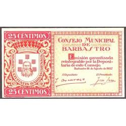 España 25 Cts. 1937. BARBASTRO-(Hu). SC. (Consejo-Serie A). LGC. 232 A