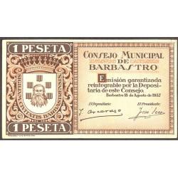 España 1 Ptas. 1937. BARBASTRO-(Hu). SC-/SC. (Consejo-Serie C). LGC. 232 C