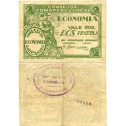 España 2 Ptas. 1937. BARBASTRO-(Hu). EBC. (Doblez). (Consejo Comarcal y Local-Economia). LGC. 232 E
