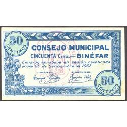 España 50 Cts. 1937. BINEFAR-(Hu)-(Franja Ponent). SC/SC-. (Nuevo con lev.ondulación). (Impr.en azul). (Consejo). LGC. 335 D -