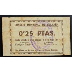 España 25 Cts. 1937. BOLTAÑA-(Hu). EBC/EBC+. (Doblez y manchitas rev.). (Consejo). MUY RARO/A. LGC. 351 A