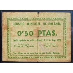 España 50 Cts. 1937. BOLTAÑA-(Hu). BC-/BC. (Doblez y pqña.roturita). (Consejo). MUY RARO/A. LGC. 351 B