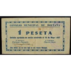 España 1 Ptas. 1937. BOLTAÑA-(Hu). MBC+. (Doblez). (Consejo). MUY RARO/A. LGC. 351 C