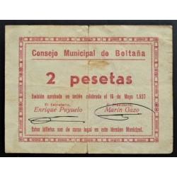 España 2 Ptas. 1937. BOLTAÑA-(Hu). MBC. (Roturitas y manchita). (Consejo). MUY RARO/A. LGC. 351 D