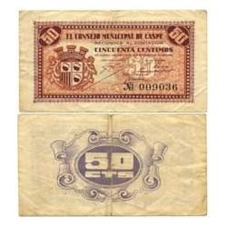 España 50 Cts. 1937. CASPE-(Z). MBC+. (Doblez). (Inpr.en morado). (Consejo). LGC. 465 A