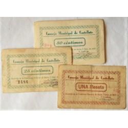 España Serie. 1937. CASTELLOTE-(Te). BC. (Serie de 3 Valores:0,25, 0,50 Cts. y 1 Pta.-Consejo)-. LGC. 496.A,B y C.