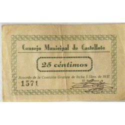 España 25 Cts. 1937. CASTELLOTE-(Te). MBC/MBC+. (Doblez). (Numeración segun estoc). (Consejo). LGC. 496 A
