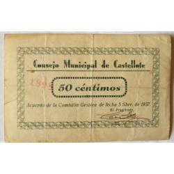 España 50 Cts. 1937. CASTELLOTE-(Te). MBC. (Numeracion segun estoc). (Consejo). LGC. 496 B