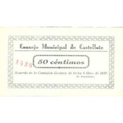 España 50 Cts. 1937. CASTELLOTE-(Te). SC/SC-. (Consejo). LGC. 496 B