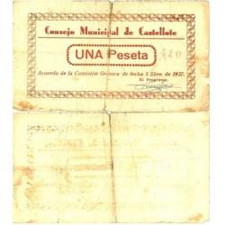 España 1 Ptas. 1937. CASTELLOTE-(Te). BC. (Roturas). (Numeracion segun estoc). (Consejo). ESCASO/A. LGC. 496 C