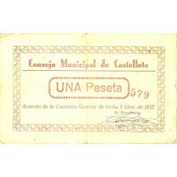 España 1 Ptas. 1937. CASTELLOTE-(Te). MBC+. (Doblez). (Numeracion segun estoc). (Consejo). LGC. 496 C