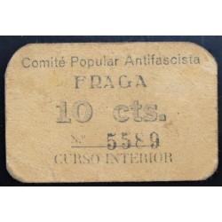 España 10 Cts. 1937. FRAGA-(Hu)-(Franja Ponent). MBC. (Cartoncillo color hueso). (Comite). MUY RARO/A. LGC. 671 B.2ª Emis - TU