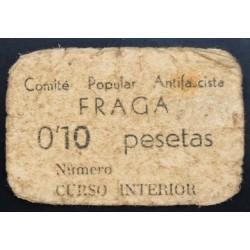 España 10 Cts. 1937. FRAGA-(Hu)-(Franja Ponent). BC-/BC. (Cartoncillo color hueso). (Comite). MUY RARO/A. LGC. 671 B.1ª Emis.