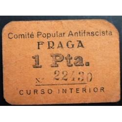 España 1 Ptas. 1937. FRAGA-(Hu)-(Franja Ponent). MBC/MBC+. (Cartoncillo naranja). (Comite). MUY RARO/A. LGC. 671 E.2ª Emis. -