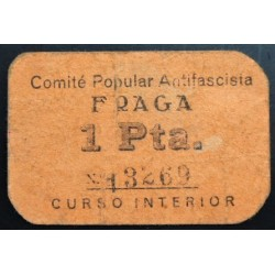 España 1 Ptas. 1937. FRAGA-(Hu)-(Franja Ponent). MBC-. (Comite Popular). MUY RARO/A. LGC. 671 E - TURR. 209 a