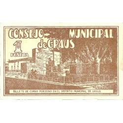 España 1 Ptas. 1937. GRAUS-(Hu)-(Franja Ponent). EBC+. (Lev.doblez). (Consejo). LGC. 735 D - TURR. 248