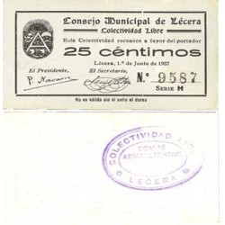 España 25 Cts. 1937. LECERA-(Z). SC-. (Lev.doblez). (Consejo/Colectividad-Serie H). RARO/A. y mas asi. LGC. 815 D Variante