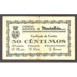 España 50 Cts. 1937. MONTALBAN-(Te). MBC. (Doblez). (Consejo). RARO/A. LGC. 941 C-(negro)