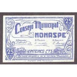 España 25 Cts. 1937. NONASPE-(Z)-(Franja Ponent). MBC+. (Doblez). (Consejo). RARO/A. LGC. 1005 A - TURR. 302