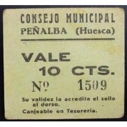 España 10 Cts. 1937. PEÑALBA-(Hu). EBC+. (Cartoncillo verde). (Consejo). RARISIMO/A. LGC. 1097 A - TURR. No